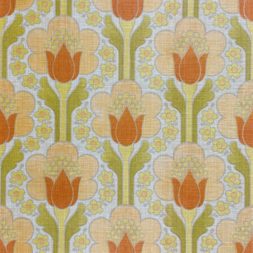 Retro Floral Wallpaper Green and Orange 1