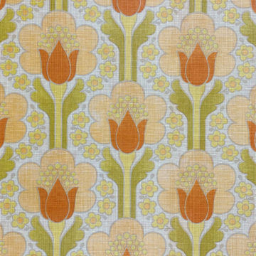 Retro Floral Wallpaper Green and Orange 2