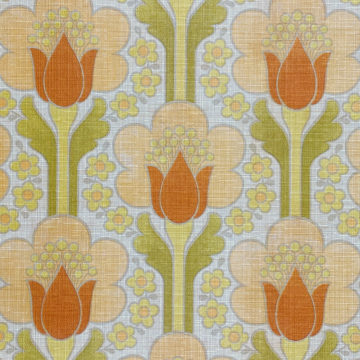 Retro Floral Wallpaper Green and Orange 3