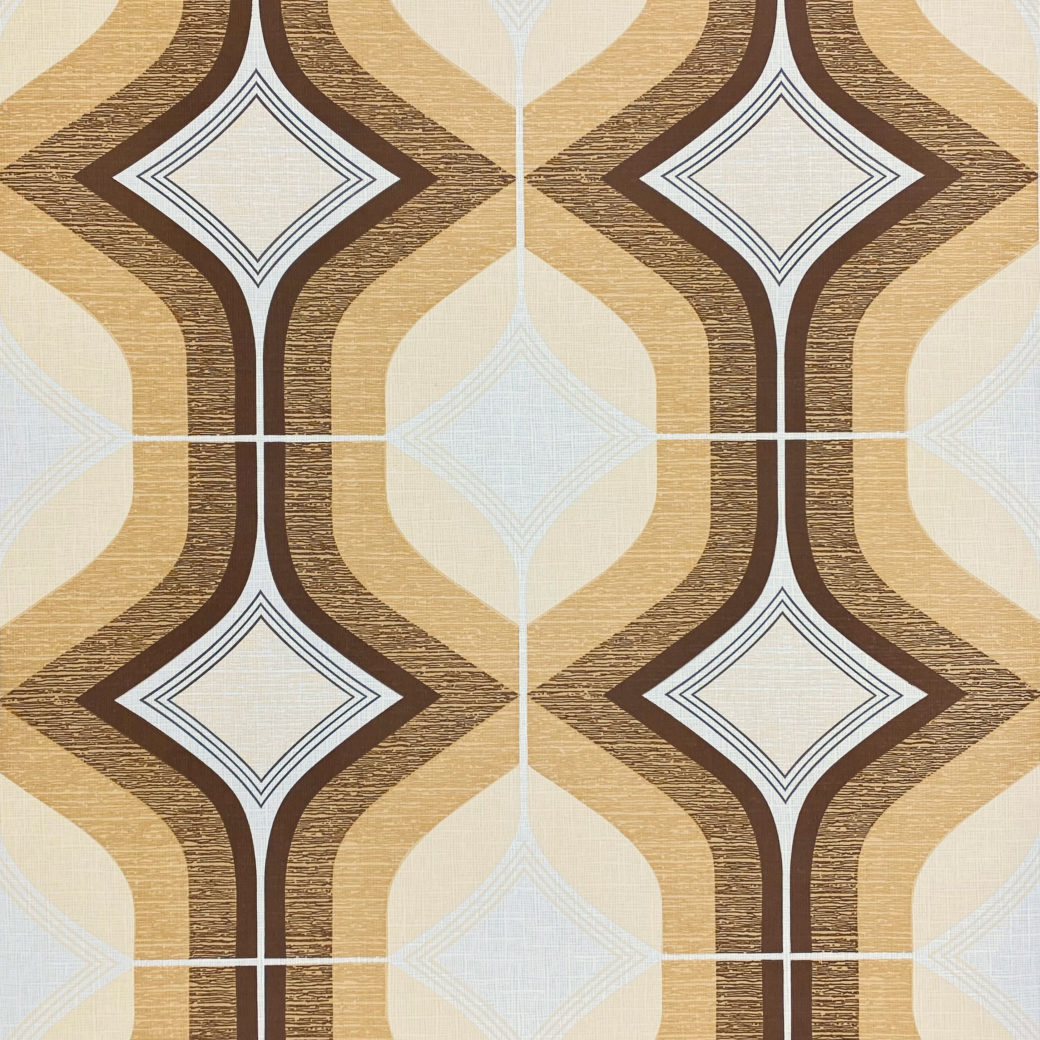 Retro Funky Geometric Wallpaper Brown