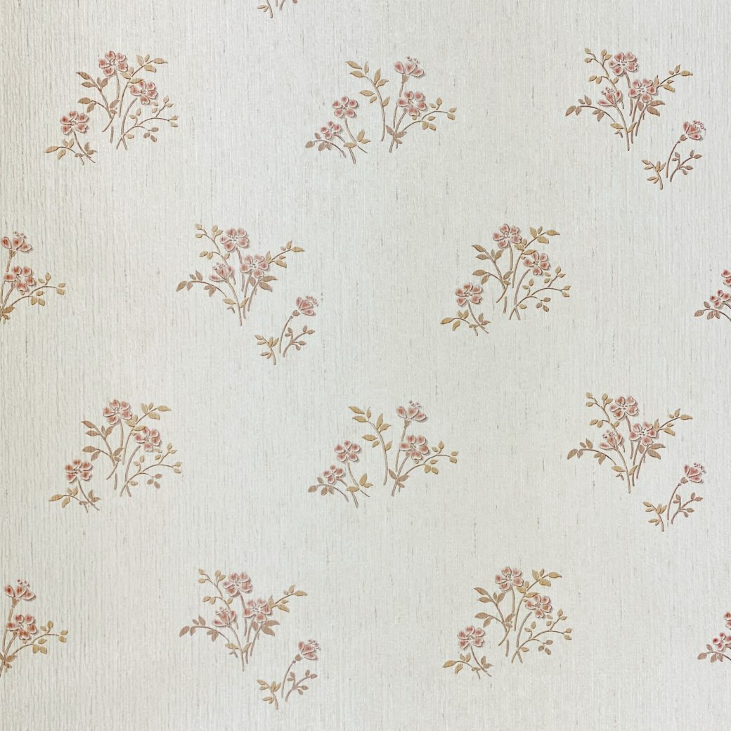 Shinny Floral Wallpaper Red and Brown 4