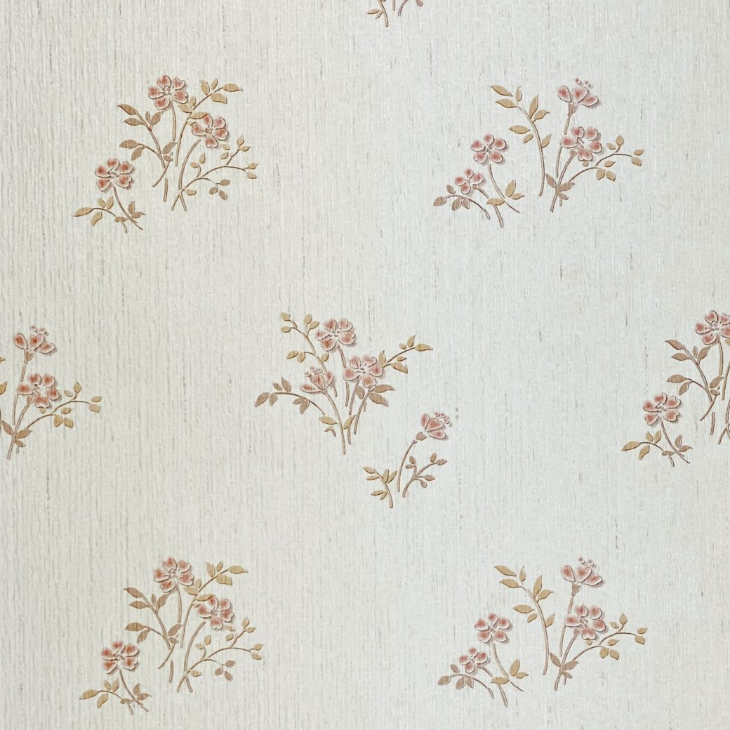 Shinny Floral Wallpaper Red and Brown 6