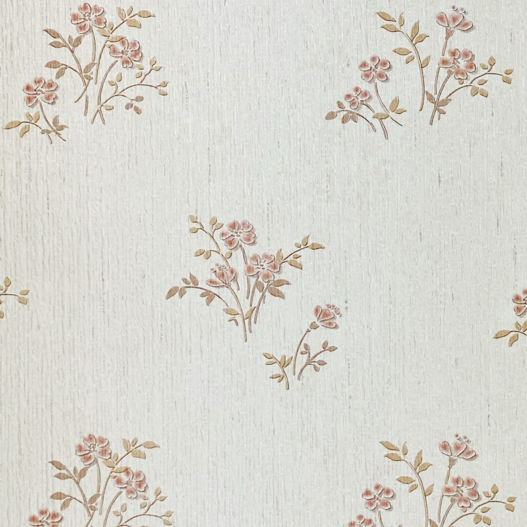 Shinny Floral Wallpaper Red and Brown 7