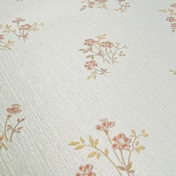 Shinny Floral Wallpaper Red and Brown 10