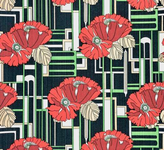 Vintage art deco floral wallpaper