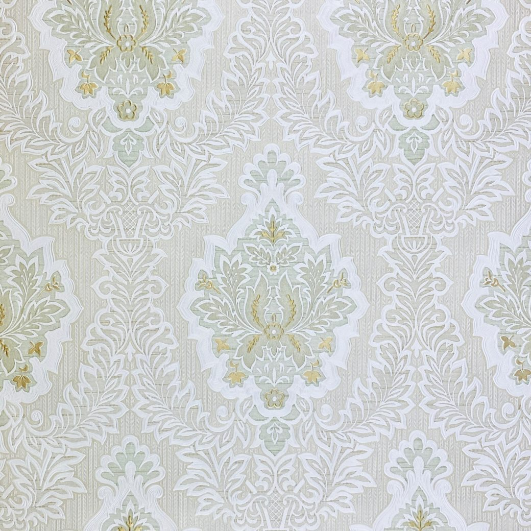 Vintage Baroque Castle Wallpaper White and Gold 1
