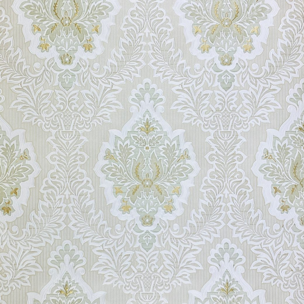 Vintage Baroque Castle Wallpaper White and Gold 3