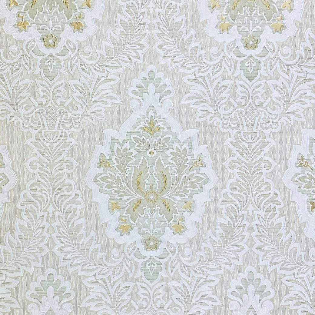 Vintage Baroque Castle Wallpaper White and Gold 4