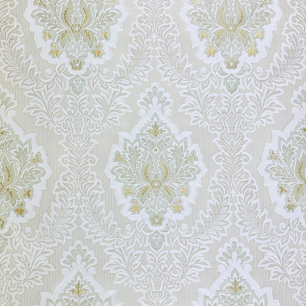 Vintage Baroque Castle Wallpaper White and Gold