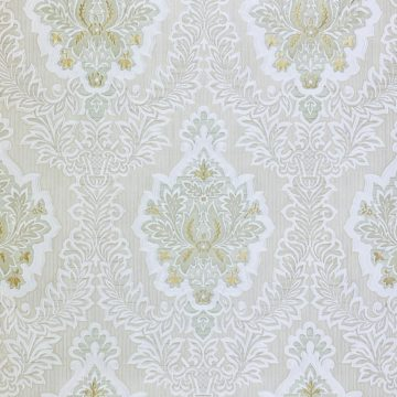 Vintage Baroque Castle Wallpaper White and Gold 2