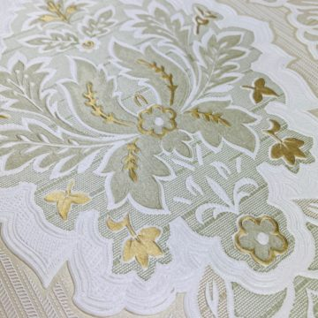 Vintage Baroque Castle Wallpaper White and Gold 6