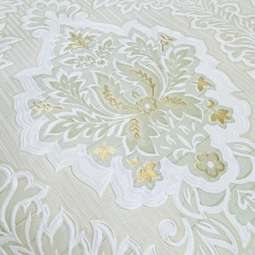 Vintage Baroque Castle Wallpaper White and Gold 7
