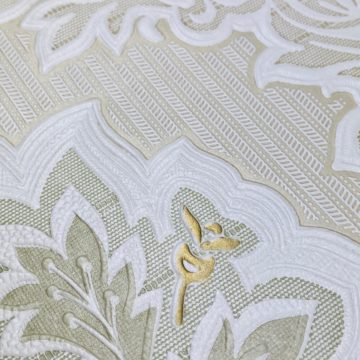 Vintage Baroque Castle Wallpaper White and Gold 8