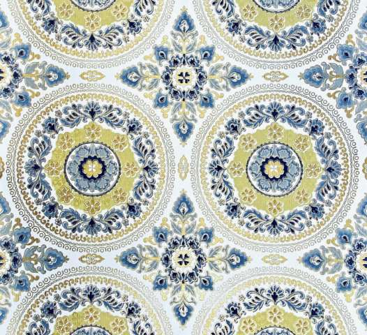 Vintage Baroque Wallpaper Blue and Gold Ornament 1