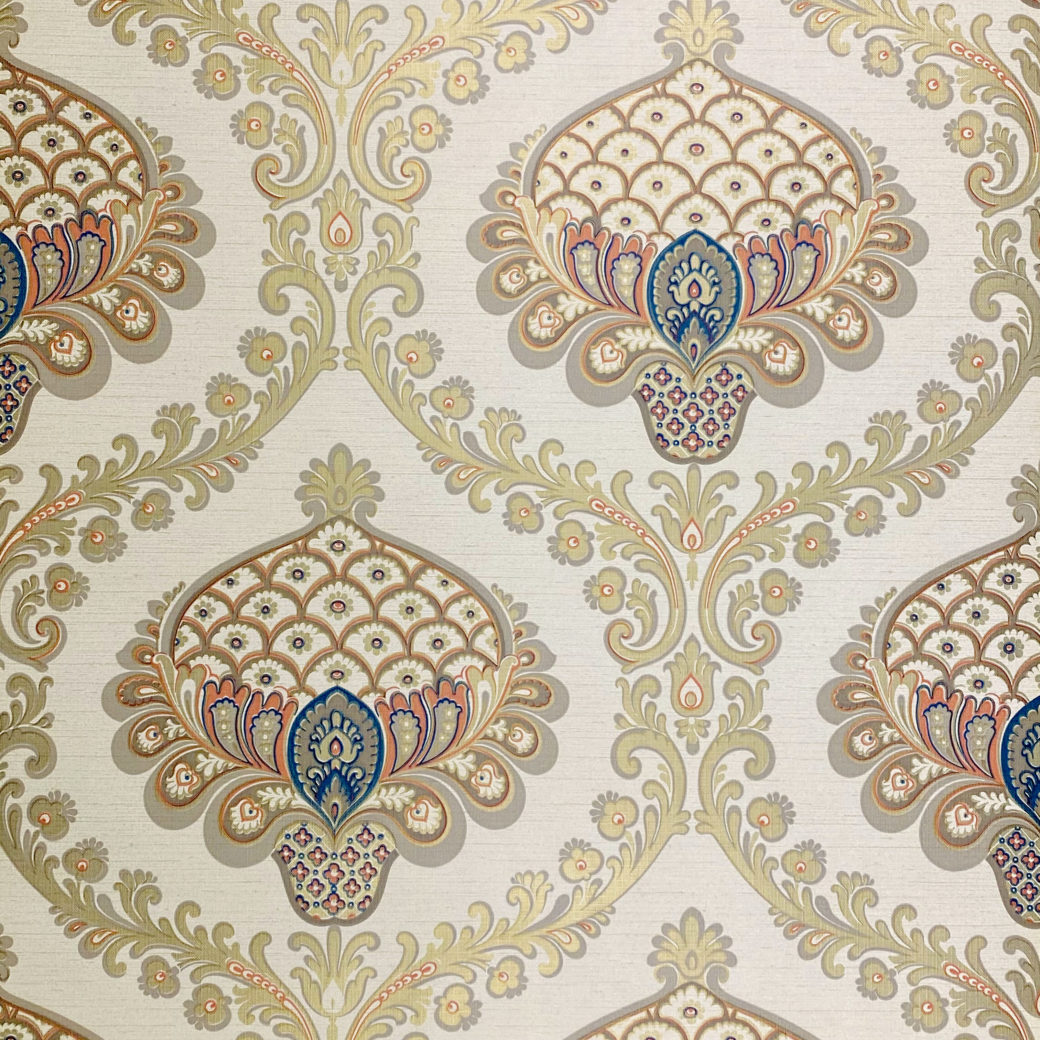 Vintage Baroque Wallpaper Gold Orange Blue 1