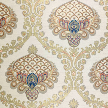 Vintage Baroque Wallpaper Gold Orange Blue 2