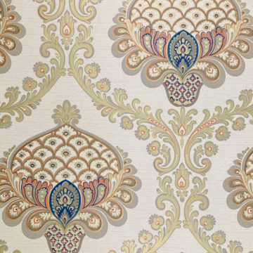 Vintage Baroque Wallpaper Gold Orange Blue 3