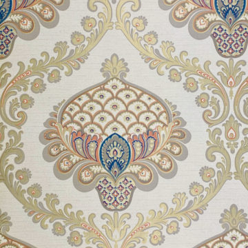 Vintage Baroque Wallpaper Gold Orange Blue 4