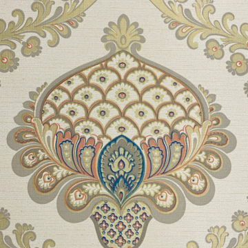 Vintage Baroque Wallpaper Gold Orange Blue 5