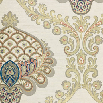 Vintage Baroque Wallpaper Gold Orange Blue 6