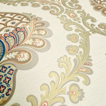 Vintage Baroque Wallpaper Gold Orange Blue 7