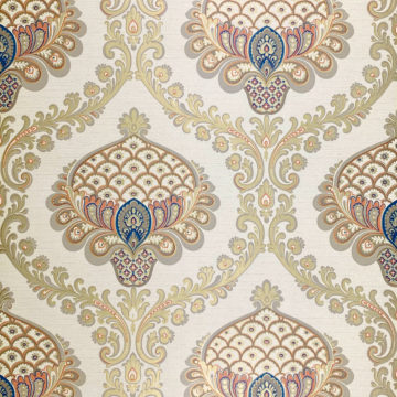 Vintage Baroque Wallpaper Gold Orange Blue