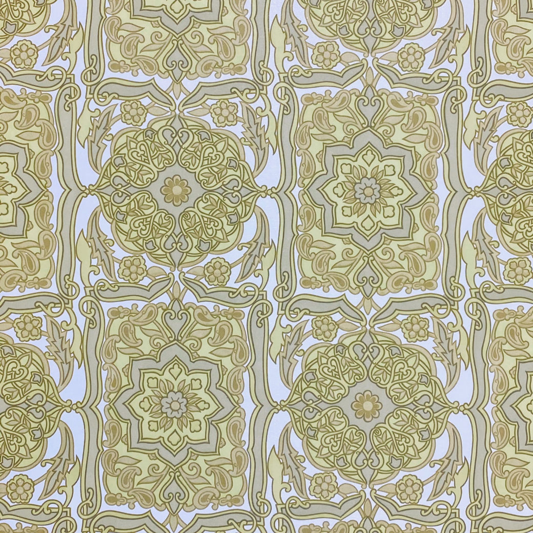 Vintage Baroque Wallpaper Green on White 2