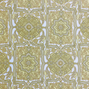 Vintage Baroque Wallpaper Green on White 1