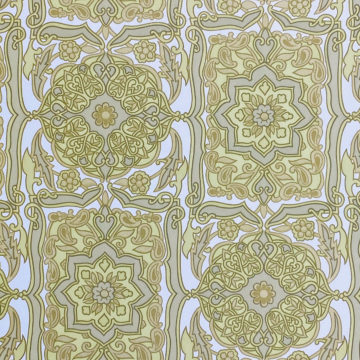 Vintage Baroque Wallpaper Green on White 3