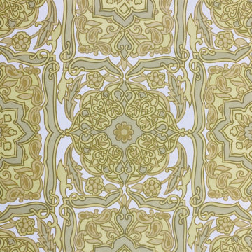 Vintage Baroque Wallpaper Green on White 4