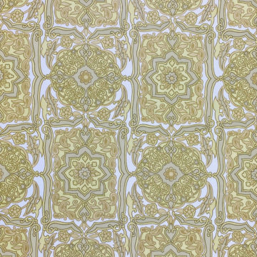 Vintage Baroque Wallpaper Green on White
