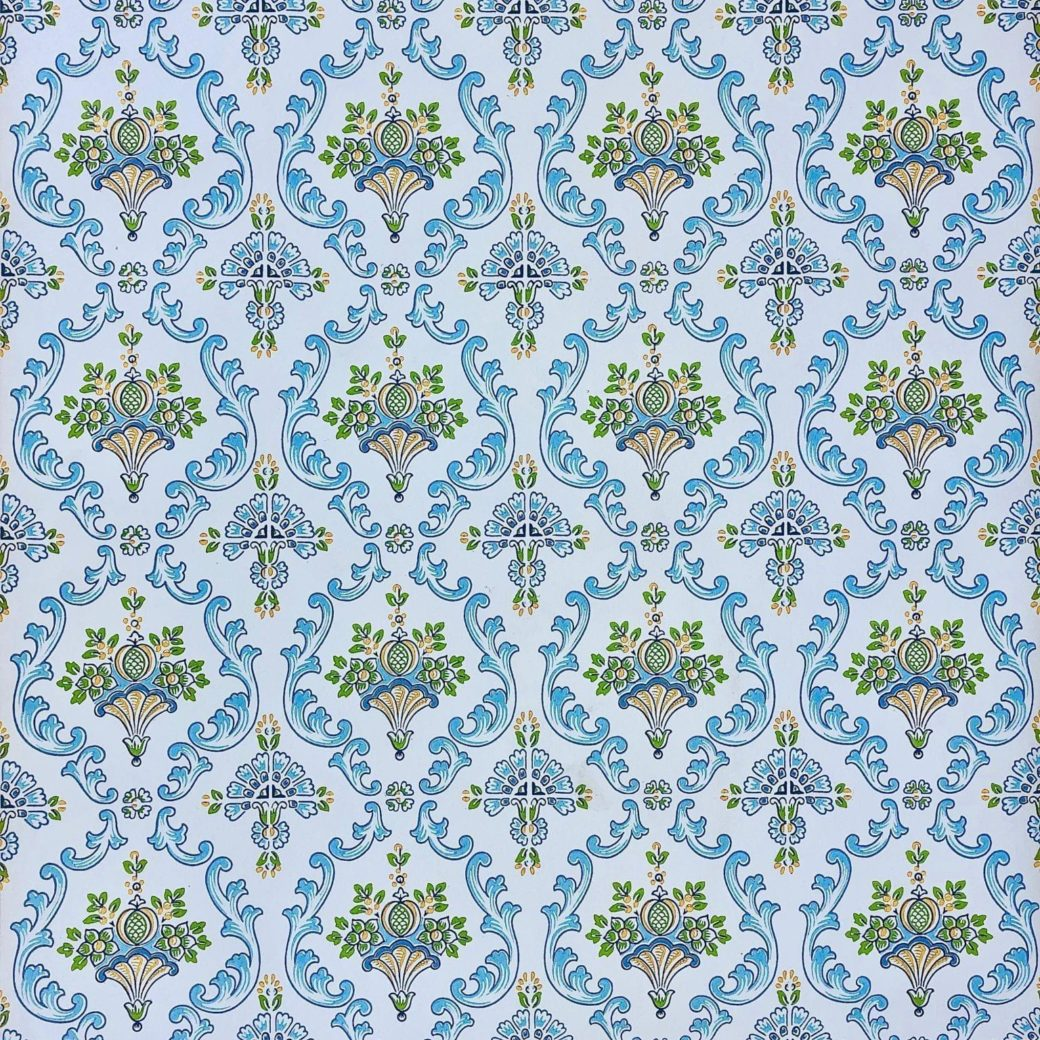 Vintage blue damask wallpaper 1 2