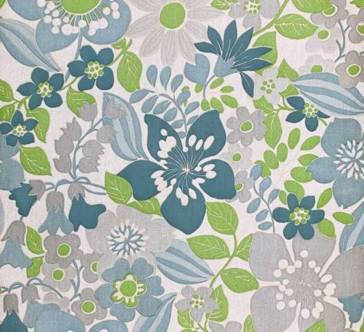 Vintage blue floral vinyl wallpaper