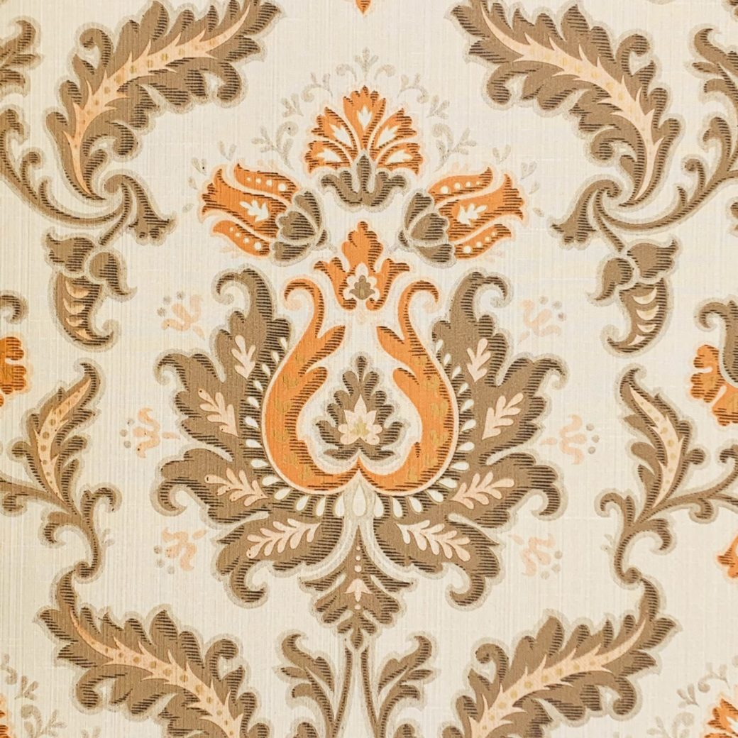 Vintage brown and orange baroque wallpaper 2