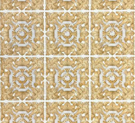 Vintage brown baroque tile wallpaper