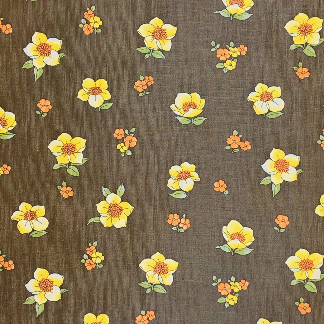 Vintage brown floral wallpaper 1