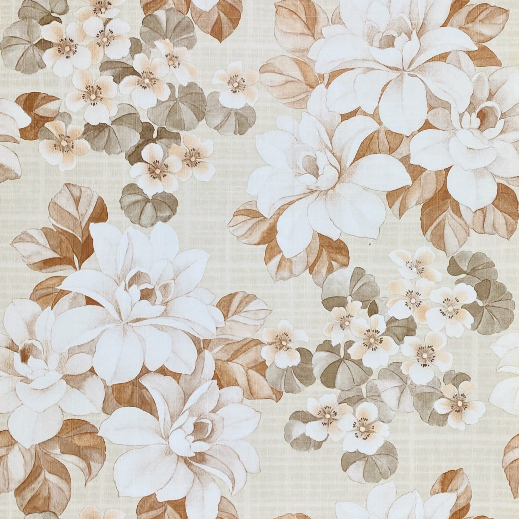 Vintage Brown Flower Pattern Wallpaper