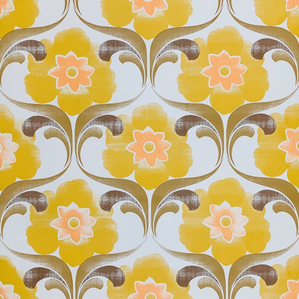 Yellow floral wallpaper