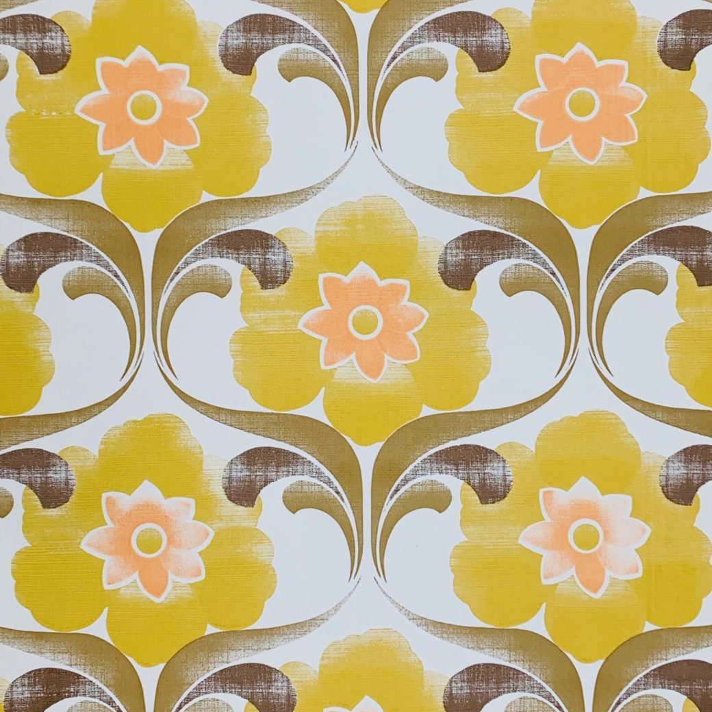 Yellow floral wallpaper 1