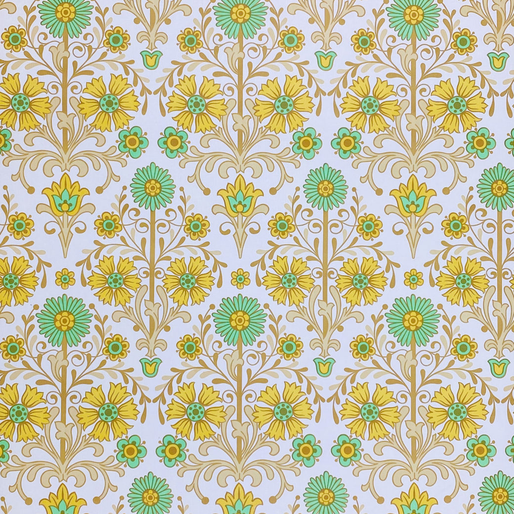 Vintage Floral Wallpaper Green and Yellow 1