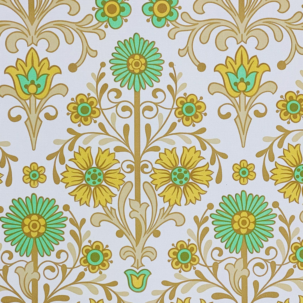 Vintage Floral Wallpaper Green and Yellow 4