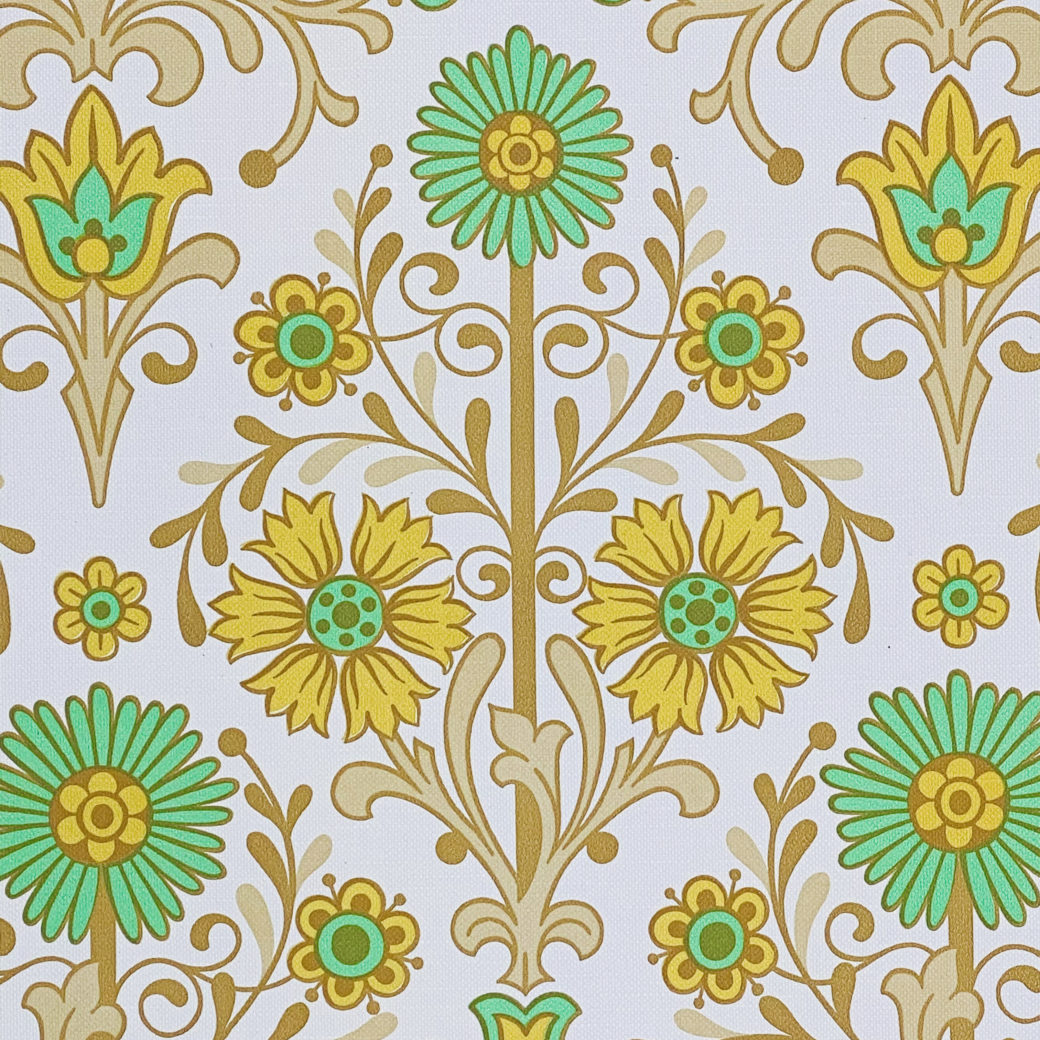 Vintage Floral Wallpaper Green and Yellow 5