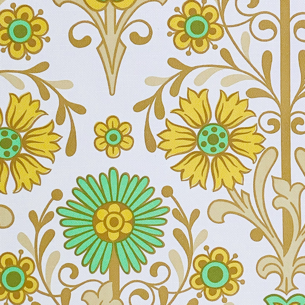 Vintage Floral Wallpaper Green and Yellow 6