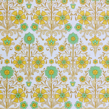 Vintage Floral Wallpaper Green and Yellow 2