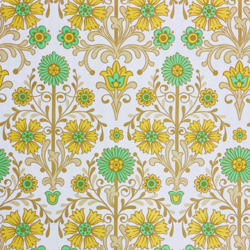 Vintage Floral Wallpaper Green and Yellow 3