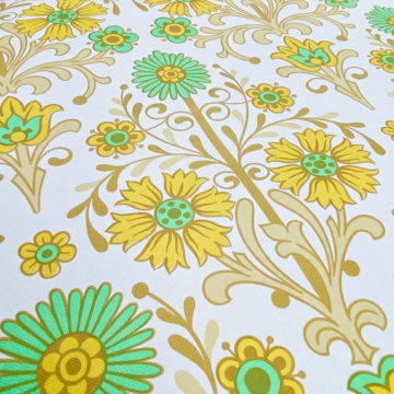 Vintage Floral Wallpaper Green and Yellow 7