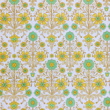 Vintage Floral Wallpaper Green and Yellow