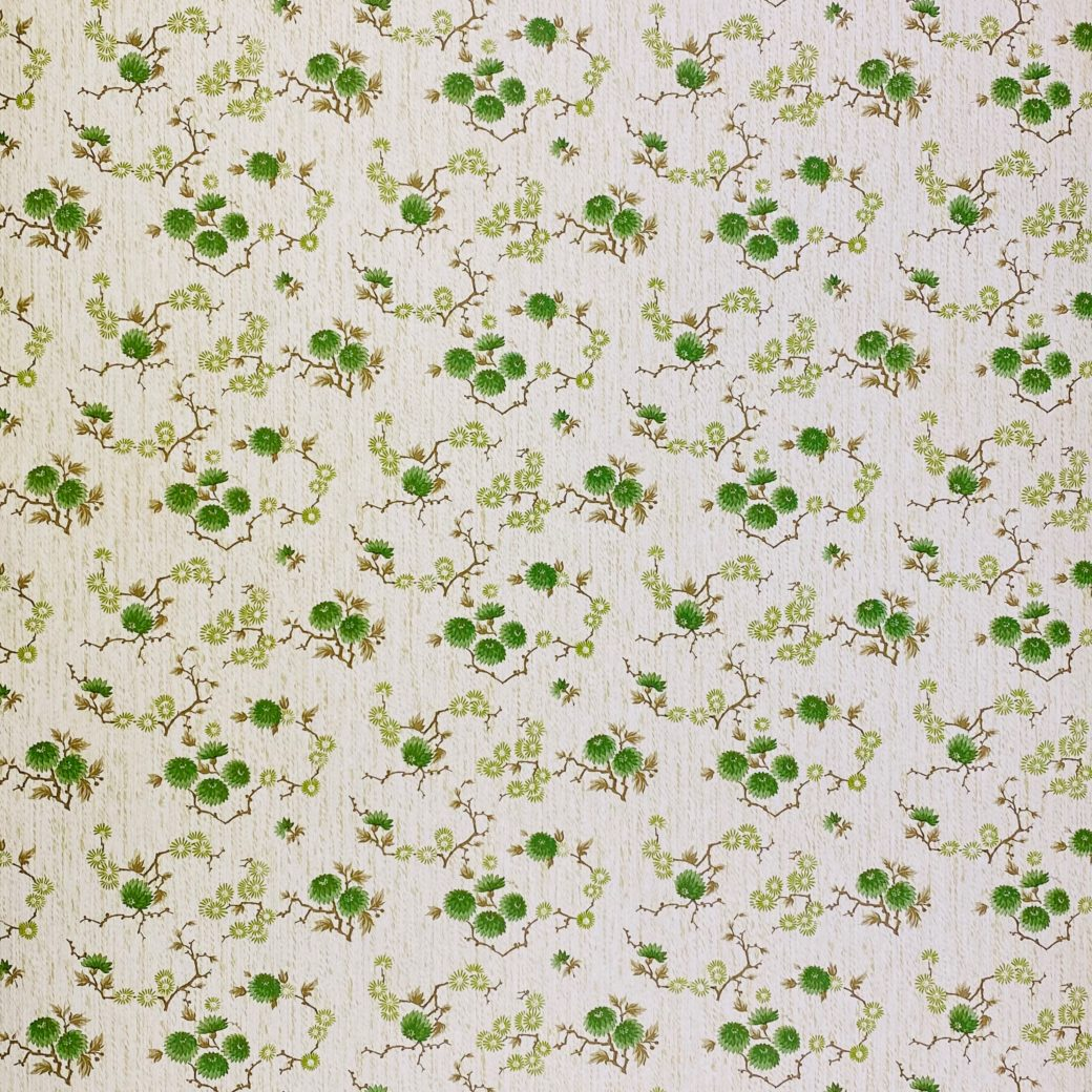 Vintage Floral Wallpaper Green Small Flowers 3