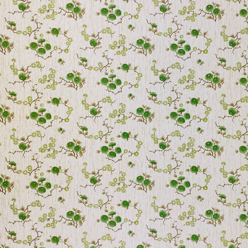 Vintage Floral Wallpaper Green Small Flowers 4