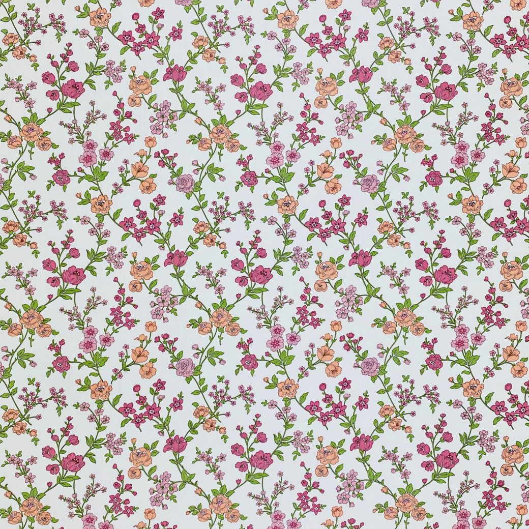 Vintage Floral Wallpaper Pink and Purple 1